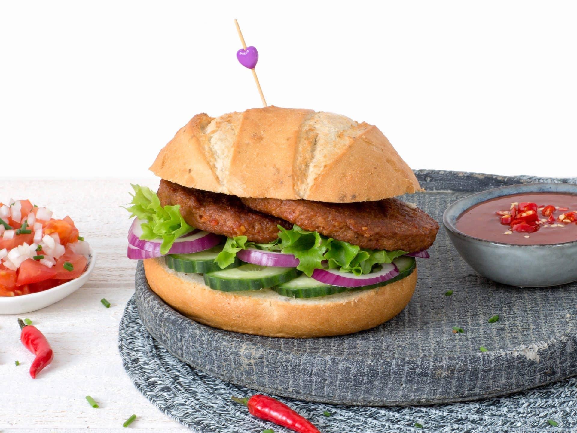 substituts de viande: burger vegetarien piri-piri