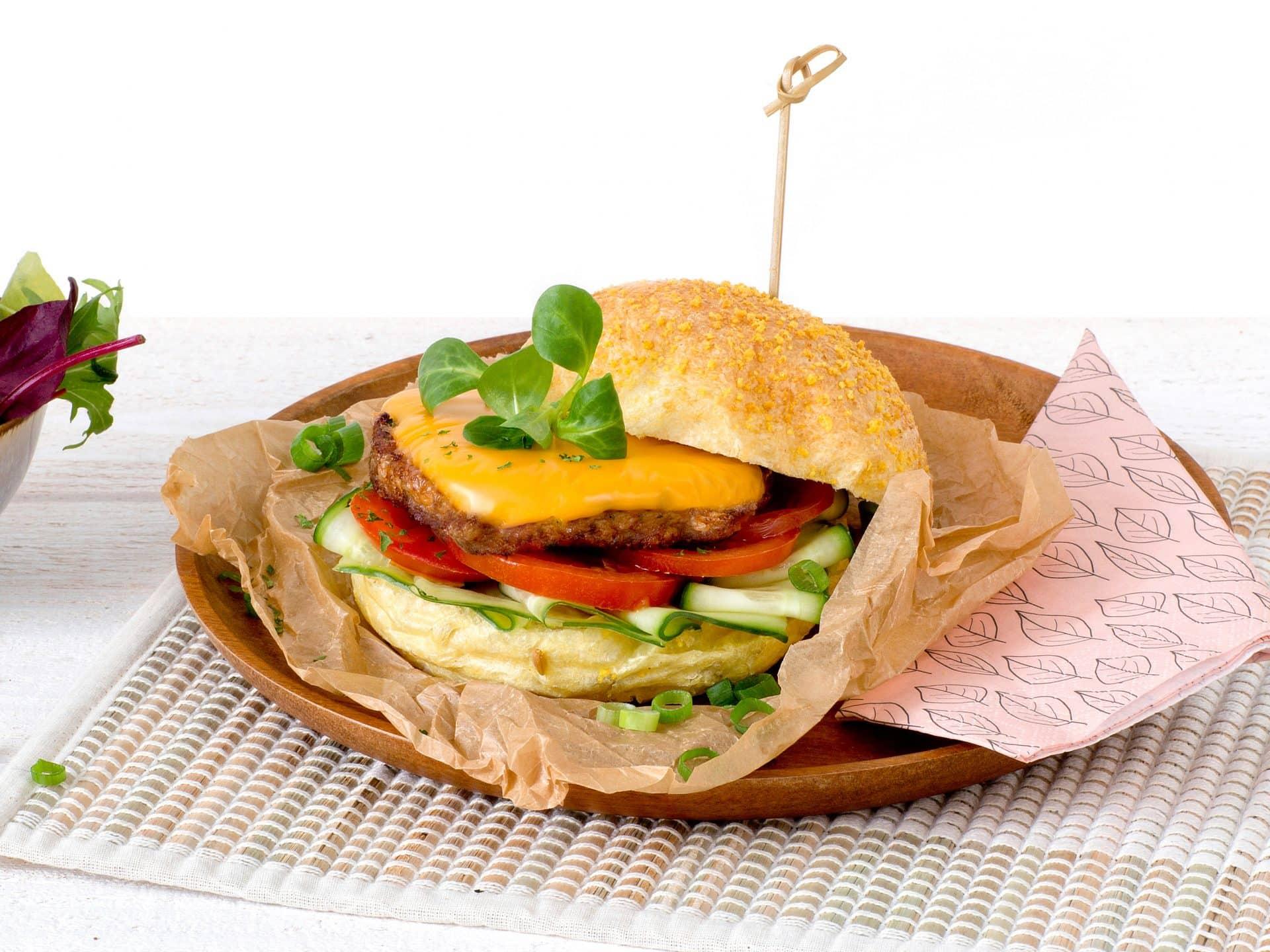 substituts de viande:Burger au Fromage végétarien