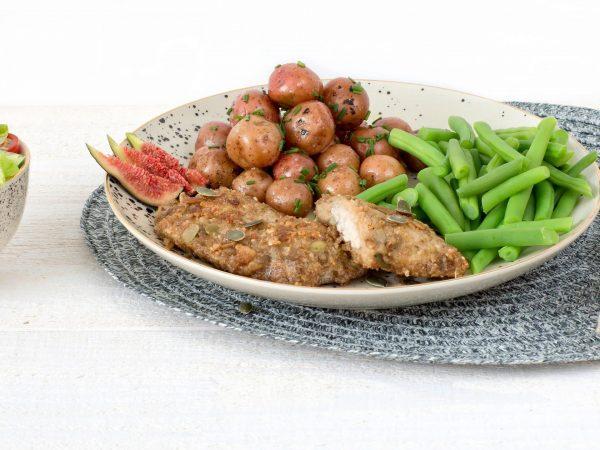 Meat substitute: Vegetarian Granola Schnitzel Goat Cheese Fig