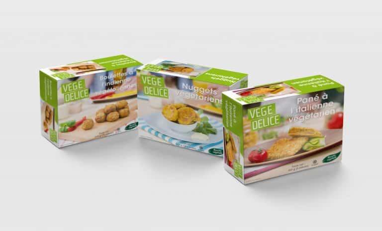aliments congelés emballage produits végétariens