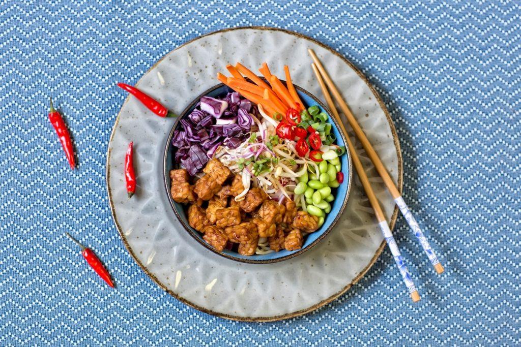 substitut de viande: bloc de tempeh vegetalien